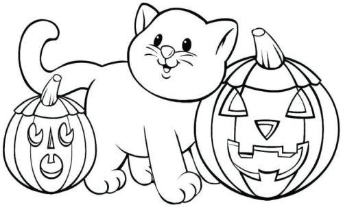 halloween para colorear 50 gatito y calabazas