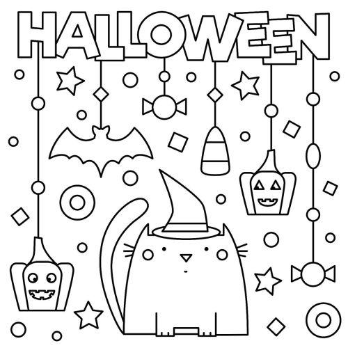 halloween para colorear 51 gatito y adornos