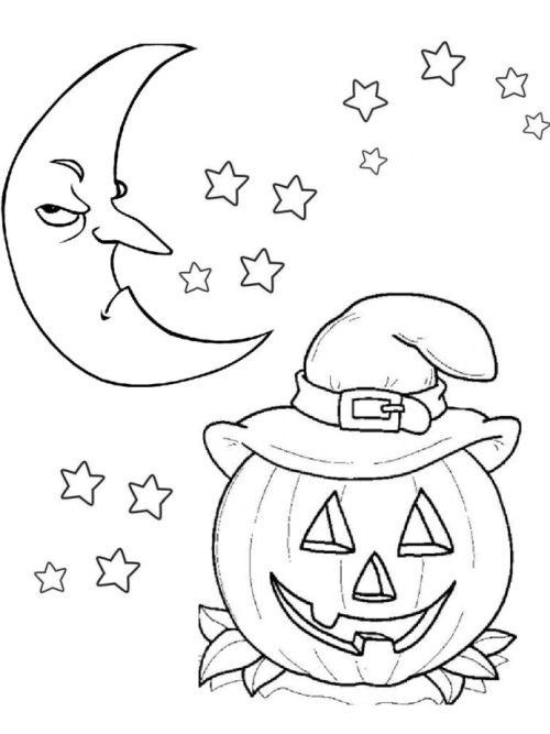 halloween para colorear 6 calabaza luna y estrellas