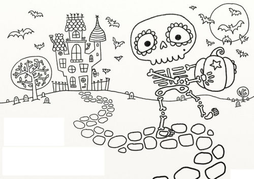 halloween para colorear 9 esqueleto con calabaza