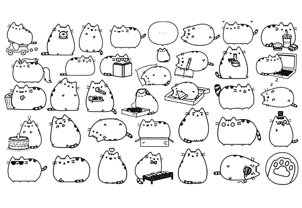 kawaii para colorear 1 - gatitos