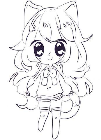 kawaii para colorear 12 chica anime