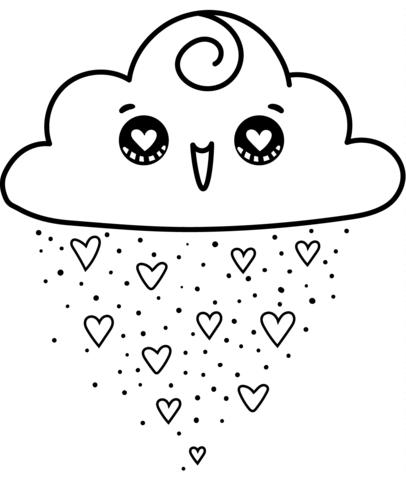kawaii para colorear 13 nube y corazones
