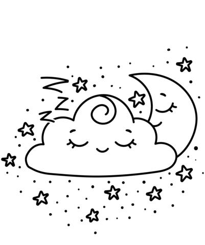 kawaii para colorear 14 nube luna y estrellas
