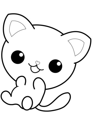 kawaii para colorear 17 gatito