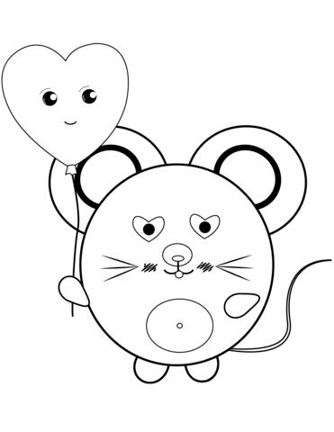kawaii para colorear 20 raton con globo