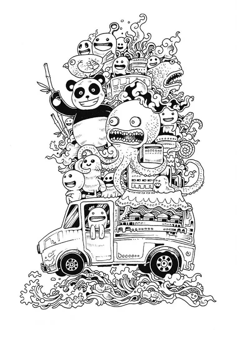 kawaii para colorear 3 - furgoneta con animales