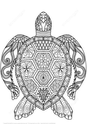 mandalas de animales para colorear 1 tortuga