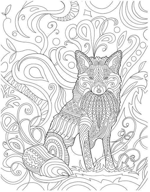 mandalas de animales para colorear 14 lobo