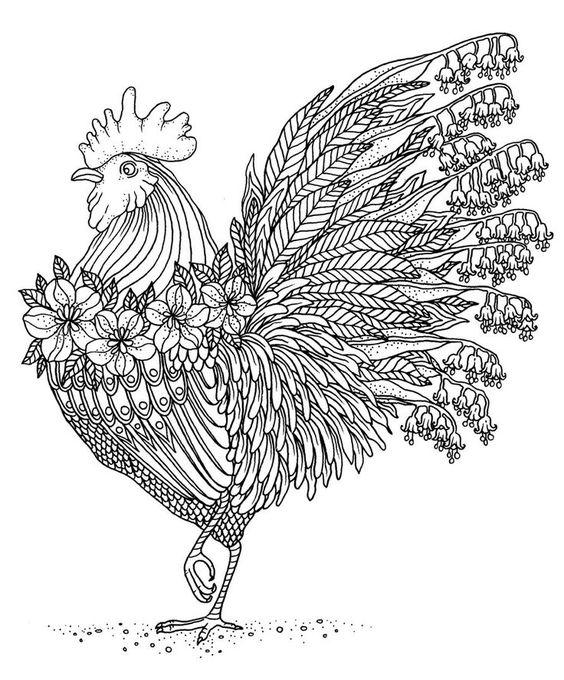 mandalas de animales para colorear 15 gallo