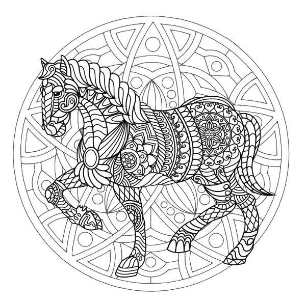 mandalas de animales para colorear 16 caballo