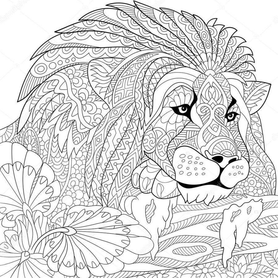mandalas de animales para colorear 6 leon