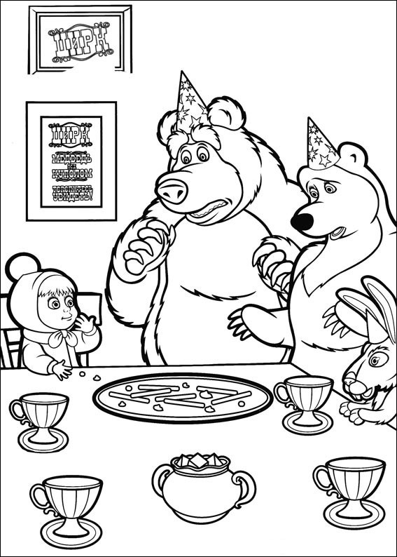 masha y el oso 31 en la mesa