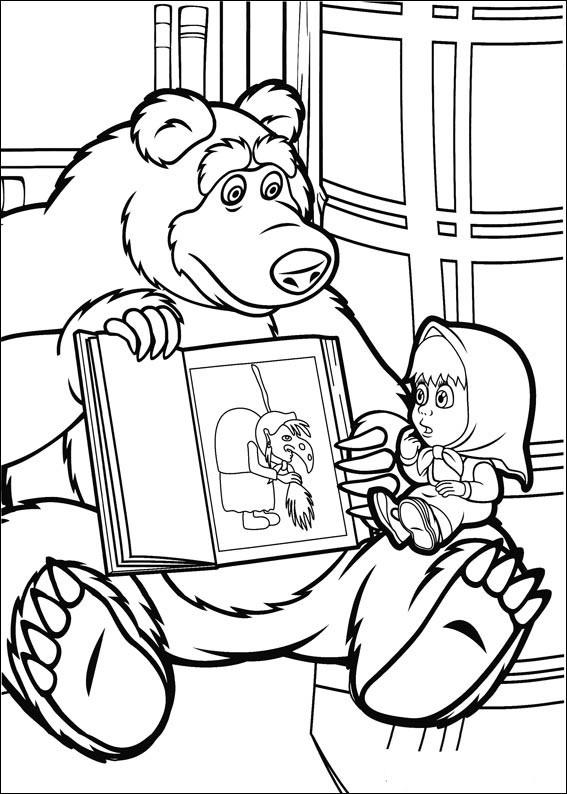 masha y el oso 36 oso contando un cuento a masha