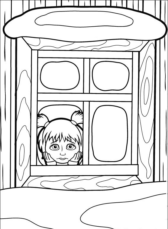 masha y el oso 37 masha triste mirando por la ventana