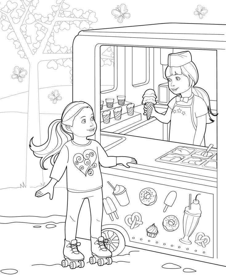 muñecas para colorear 11 en la heladeria