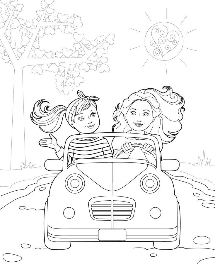 muñecas para colorear 12 en el coche