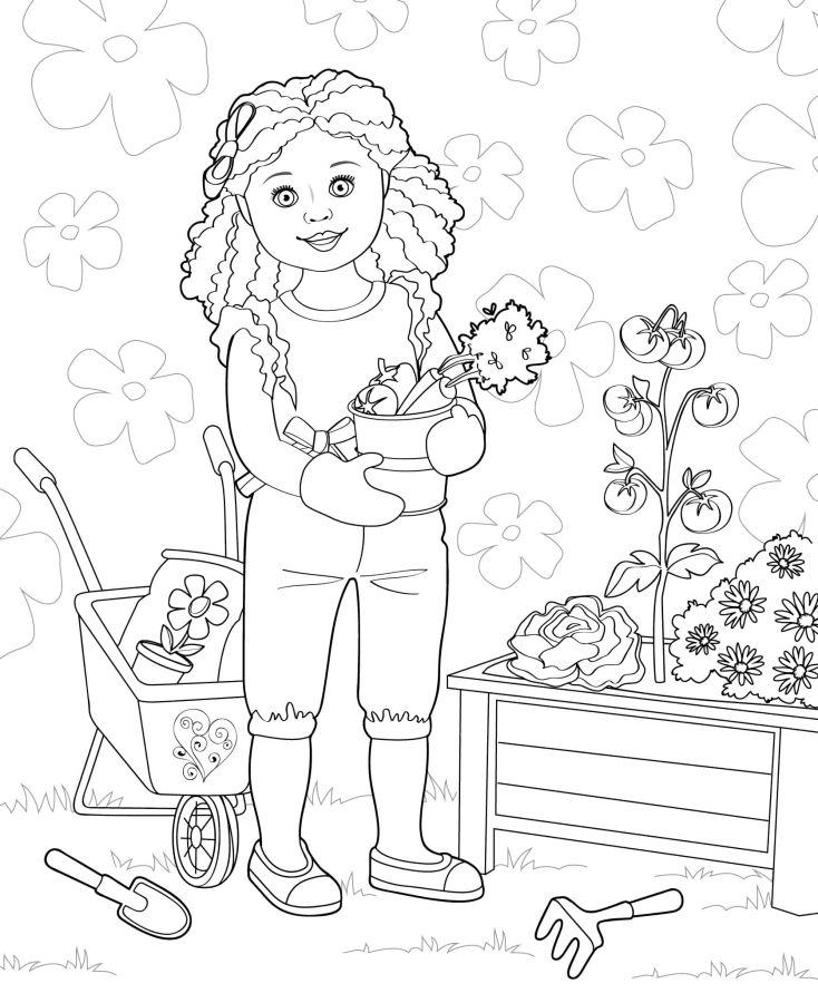 muñecas para colorear 8 plantando