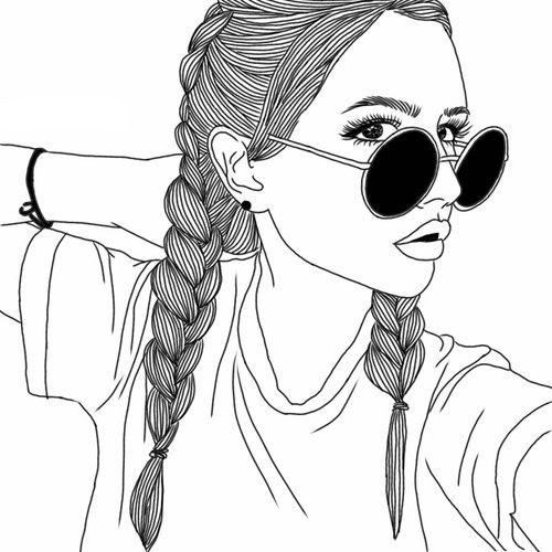 niñas para colorear 4 con gafas de sol
