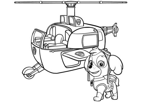 patrulla canina para colorear 10 helicoptero de skye