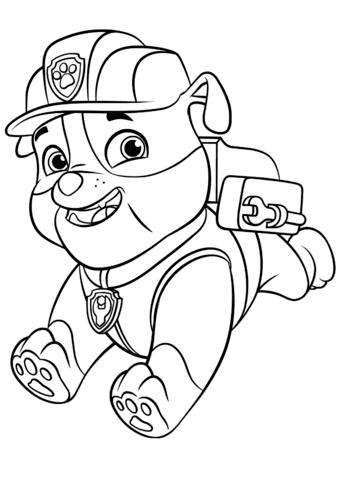 patrulla canina para colorear 17 rubble con mochila