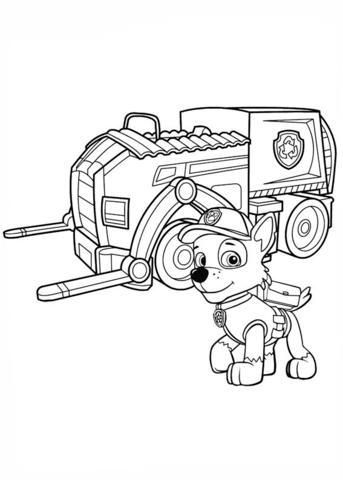 patrulla canina para colorear 19 camion de reciclaje de rocky