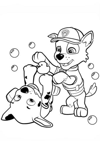 patrulla canina para colorear 22 rocky y marshall jugando