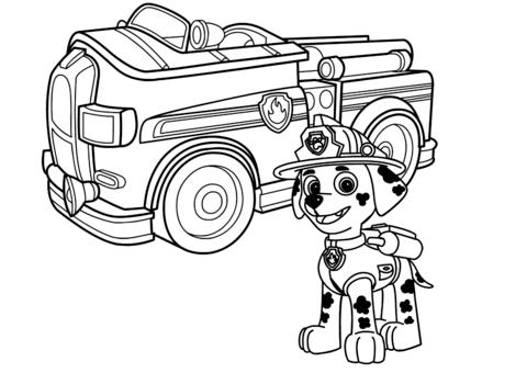 patrulla canina para colorear 26 marshall con camion de bomberos