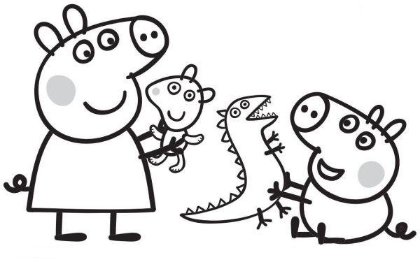 peppa pig para colorear 1 peppa pig jugando con george pig