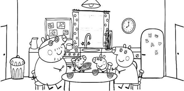 peppa pig para colorear 12 comiendo con la familia