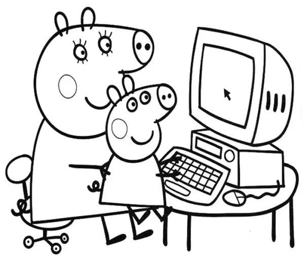 peppa pig para colorear 14 peppa pig con george pig en el ordenador
