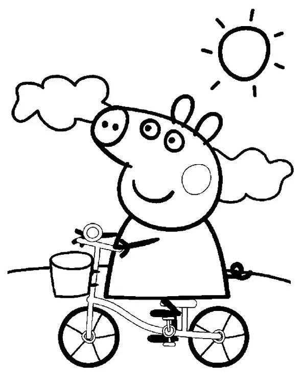 peppa pig para colorear 17 peppa pig montando en bicicleta