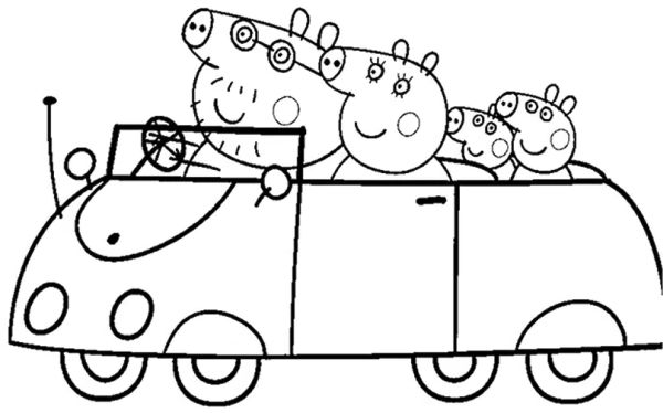 peppa pig para colorear 18 con la familia en el coche