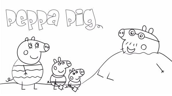 peppa pig para colorear 19 con la familia en la playa