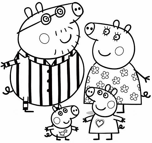 peppa pig para colorear 2 familia