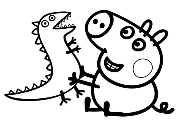 peppa pig para colorear 22 george pig con dinosaurio