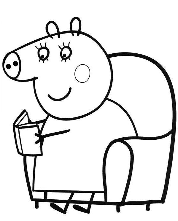 peppa pig para colorear 25 mama pig leyendo