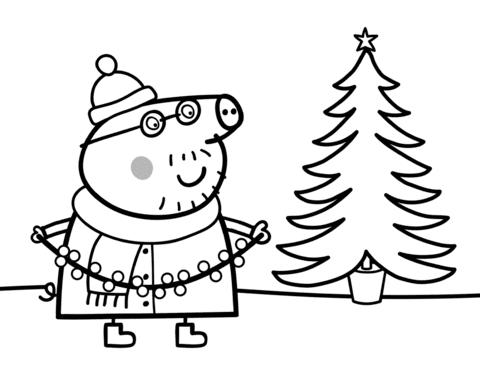 peppa pig para colorear 27 papa pig con arbol de navidad