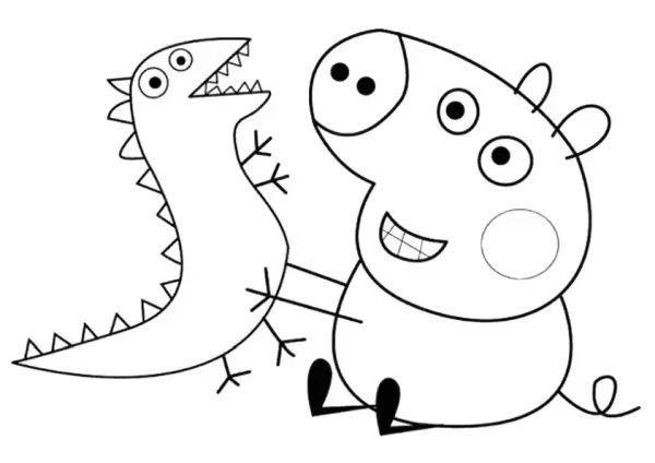 peppa pig para colorear 9 george pic jugando con dinosaurio
