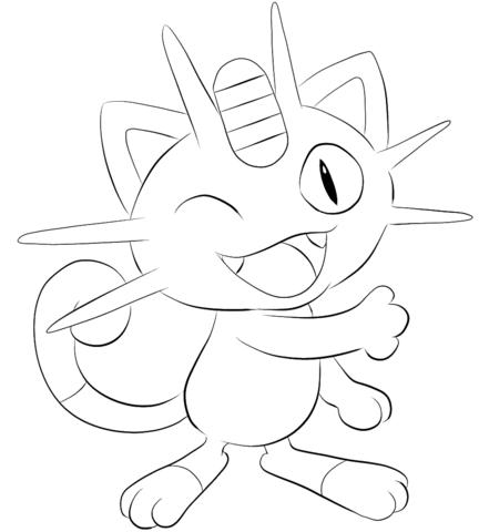 pokemon para colorear meowth 2