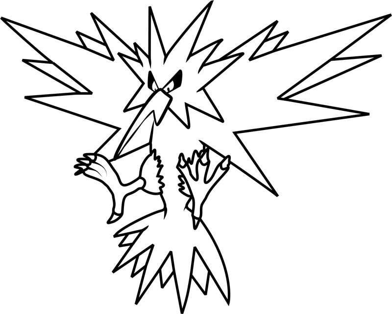 pokemon para colorear zapdos 1