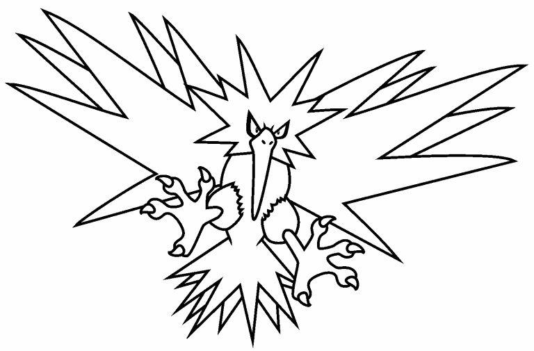 pokemon para colorear zapdos 2