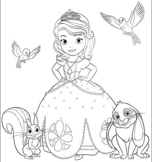 princesas para colorear 1 con animalitos