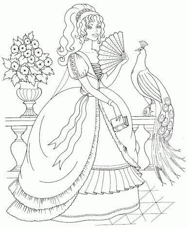 princesas para colorear 14 jarron libro y pavo real