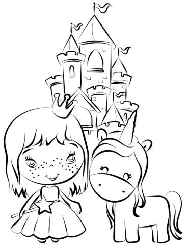 princesas para colorear 18 con unicornio y castillo estilo kawaii