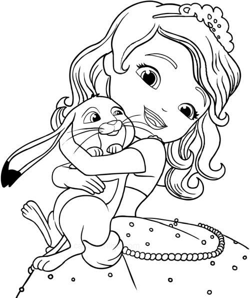 princesas para colorear 26 princesita con conejo