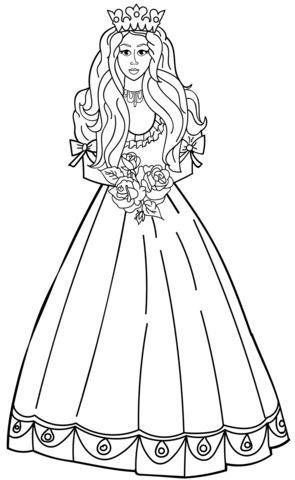 princesas para colorear 29 con ramo de flores