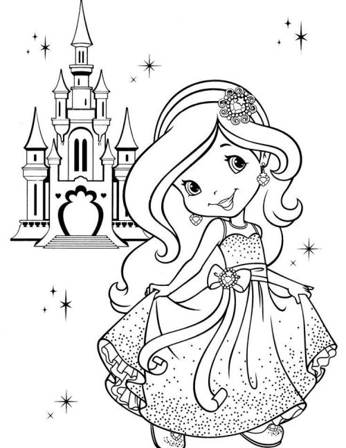 princesas para colorear 3 con el castillo al fondo