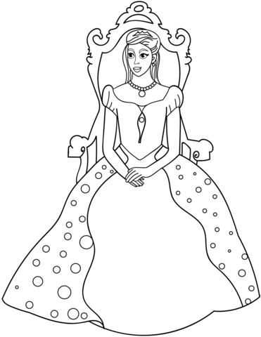 princesas para colorear 31 en el trono