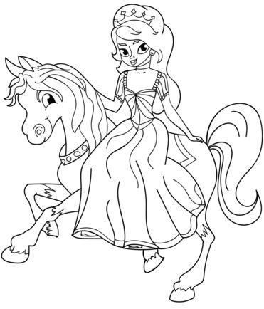 princesas para colorear 32 a caballo